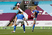 An overhead kick by Chris Wood of Burnley (9) during the Premier League match between Burnley and Brighton and Hove Albion at Turf Moor, Burnley, England on 26 July 2020.