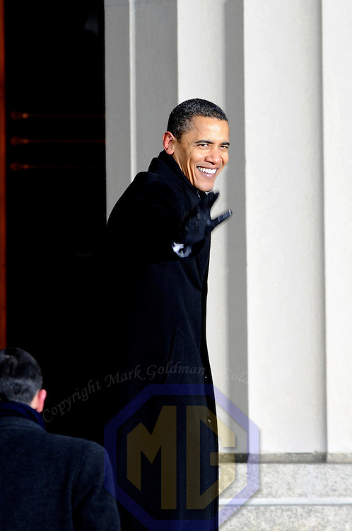 President-elect Barack Obama waves to the crowd at the War Memorial Plaza in Baltimore, Maryland before departing on January 17, 2009. Obama and Vice President-elect Joe Biden are traveling by train from Philadelphia, where America's independence was declared in 1776, to Baltimore, where the National Anthem was written, and finally to Washington DC for their inauguration. The Whistlestop Tour is intended to resemble the train trip President Abraham Lincoln took from Springfield, Illinois to Washington DC for his inauguration in 1861.