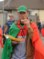 Mayo Supporter Tom O&rsquo;Toole on his wat to  McHale park for the All Ireland qualifer against Derry.<br />Pic Conor McKeown