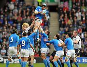 Italy lock Carlo Del Flava wins clean line out ball.<br /> Scotland v Italy, Six Nations Championship, Murrayfield, Edinburgh, Scotland, Saturday 19th March 2010.<br /> Please credit ***FOTOSPORT/DAVID GIBSON***