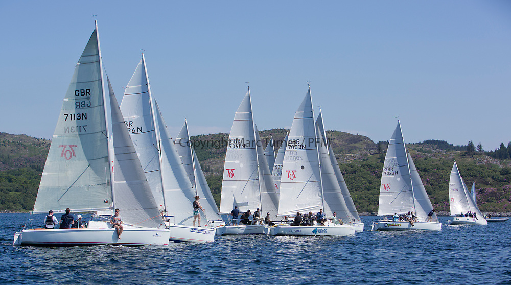 Silvers Marine Scottish Series 2017<br /> Tarbert Loch Fyne - Sailing<br /> <br /> Hunter 707 Start<br /> <br /> Credit Marc Turner / PFM