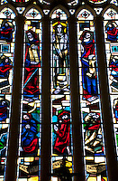 Stained glass windows in a Norman church in France