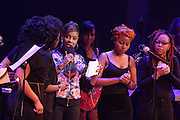 5 April 2014 - Washington, DC: (L-R) Black Girls Rock! Mentees and MC Lyte attend the launch of ROCK! LIKE A GIRL Inside at the One Mic Hip Hop Festival held at the John F. Kennedy for the Performing Arts on April 5, 2014 in Washington, D.C.  (Terrence Jennings)