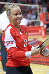 09 October 2009: Kasey Mollerus looks at the award she was presented for breaking the school record for digs. The Redbirds of Illinois State defeated the Braves of Bradley in 3 sets during play in the Redbird Classic on Doug Collins Court inside Redbird Arena in Normal Illinois