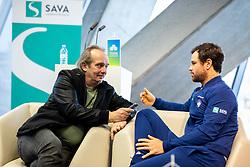 Journalist Jurij Zavrsnik and Blaz Kavcic during press conference of Slovenian Tennis Men Team before Davis Cup against Pakistan, on February 27, 2020 in Kristalna palaca, Ljubljana, Slovenia. Photo by Vid Ponikvar / Sportida