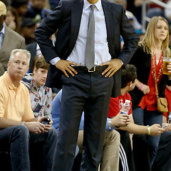 Oct 23, 2013; New Orleans, LA, USA; Miami Heat head coach Erik Spoelstra against the New Orleans Pelicans during the second half of a preseason game at New Orleans Arena. The Heat defeated the Pelicans 108-95. Mandatory Credit: Derick E. Hingle-USA TODAY Sports
