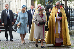 © Licensed to London News Pictures. 15/10/2019. London, UK. Queen Elizabeth II and The Duchess of Cornwall arrive to attend a service to celebrate the 750th Anniversary of the re-building of Westminster Abbey. Photo credit: Ray Tang/LNP