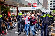 ROTTERDAM - riots in rotterdam after feyenoord not winning the championships Supporters van Feyenoord raken slaags met de politie in het centrum van Rotterdam. Nadat Feyenoord onverwachts verloor bij Excelsior.  copyright robin utrecht