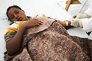 A patient receives treatment at a cholera treatment center at the Kibati IDP camp on the outskirts of Goma, Eastern Democratic Republic of Congo on Friday December 12, 2008.