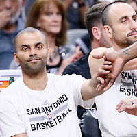 02 April 2017: San Antonio Spurs guard Tony Parker (9) is seen on there bench next to San Antonio Spurs guard Manu Ginobili (20) during the San Antonio Spurs 109-103 victory over the Utah Jazz, at the AT&T Center, San Antonio, Texas, USA.