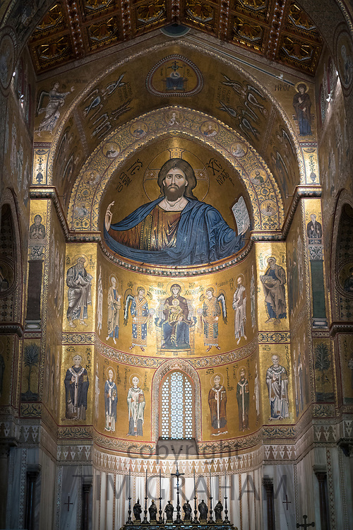 Famous mosaics and Jesus Christ Pantocrator at cathedral Basilica Cattedrale Parrocchia Santa Maria Nuova in Monreale, Sicily, Italy