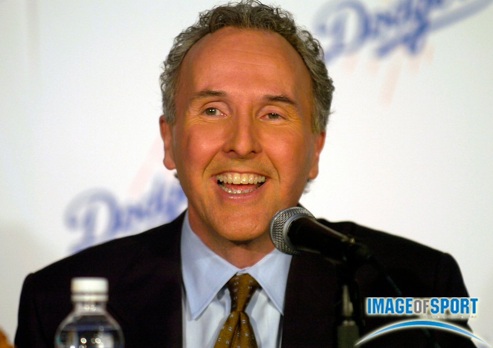 Jan 29, 2004; Los Angeles, CA, USA; Frank McCourt speaks during press conference announcing  his purchase of Los Angeles Dodgers at Dodger Stadium.