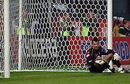 n/z.: bramkarz Krzysztof Kotorowski (nr1-Lech) przepuscil piatego gola podczas meczu ligowego Wisla Krakow (czerwone-biale) - Lech Poznan (niebieskie) 5:1, I liga polska , 8 kolejka sezon 2005/2006 , pilka nozna , Polska , Warszawa , 24-09-2005 , fot.: Adam Nurkiewicz / mediasport..goalkeeper Krzysztof Kotorowski (nr1-Lech) miss fifth goal during Polish league first division soccer match in Cracow. September 24, 2005 ; Wisla Cracow (red-white) - Lech Poznan (blue) 5:1; 8 round season 2005/2006 , football , Poland , Cracow ( Photo by Adam Nurkiewicz / mediasport )