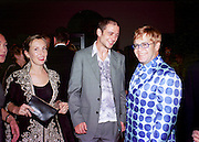 Sam Taylor Wood, Jake Chapman and Elton John., Apocalypse opening. Royal Academy. 18 September 2000. © Copyright Photograph by Dafydd Jones 66 Stockwell Park Rd. London SW9 0DA Tel 020 7733 0108 www.dafjones.com