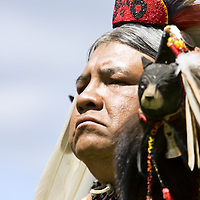 Native American male portrait at ceremonial Pow Wow at Browning , Montana