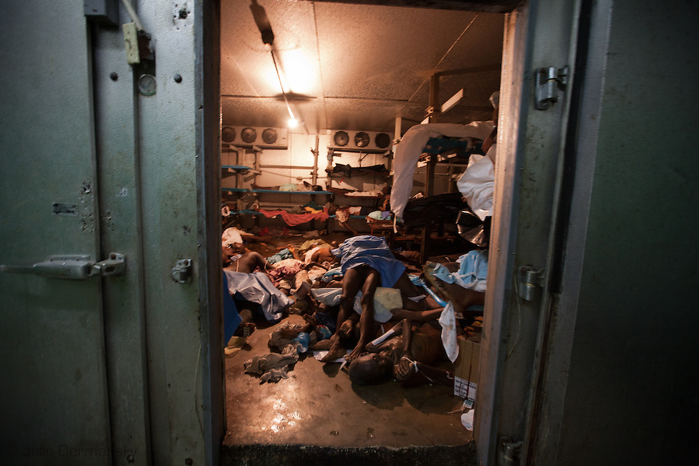 Bodies in the morgue at General Hospital in Port-au-Prince. Months after the  earthquake struck Haiti on January 12, 2010, the central morgue continued to over-flowed with bodies. After the Earthquake deaths by caused by crime have spiked.