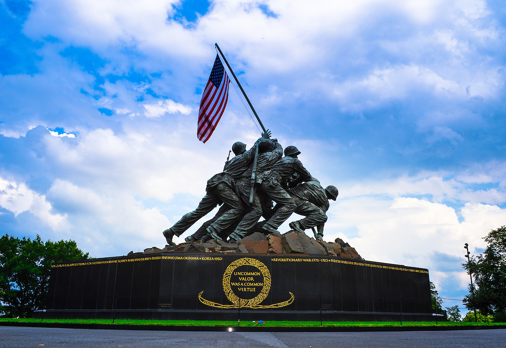The United States Marine Corps War Memorial (Iwo Jima Memorial) located in Arlington County, Virginia is dedicated to all U.S. Marine Corps personnel who died in the defense of the United States since 1775.