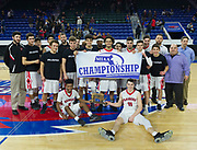 Watertown High School players pose for a picture during the MIAA Division 3 North sectional final against St. Mary's at the Tsongas Center in Lowell, March 10, 2018. Watertown won the game, 44-36.   [Wicked Local Photo/James Jesson]