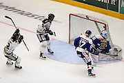 Stavanger Oilers score their 2nd goal during the Terminliste Get-Ligean match between Stavenger Oilers and Sparta at DNB Arena, Stavanger, Norway on 15 September 2016. Photo by Andrew Halseid-Budd.