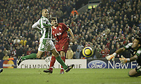 Photo: Aidan Ellis.<br /> Liverpool v Real Betis. UEFA Champions League.<br /> 23/11/2005.<br /> Liverpool's Steven Gerrard has a chance at the end but hits straight at Betis Keeper Antonio Doblas