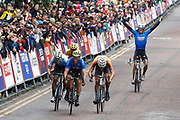 Arrival sprint Men Road Race 230,4 km, Matteo Trentin (Italy) winner, Mathieu Van Der Poel (Netherlands), Wout Van Aert (Belgium), Davide Cimolai (Italy), during the Cycling European Championships Glasgow 2018, in Glasgow City Centre and metropolitan areas, Great Britain, Day 11, on August 12, 2018 - Photo Luca Bettini / BettiniPhoto / ProSportsImages / DPPI - Belgium out, Spain out, Italy out, Netherlands out -
