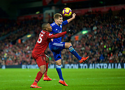 LIVERPOOL, ENGLAND - Wednesday, January 30, 2019: Liverpool's substitute Daniel Sturridge and Leicester City's Marc Albrighton during the FA Premier League match between Liverpool FC and Leicester City FC at Anfield. (Pic by David Rawcliffe/Propaganda)