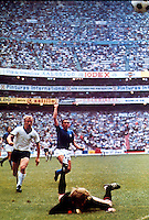 "Football Fifa Mexico 1970 World Cup - Semi-Final Matchs  -<br /> Italy vs Germany Federal Republic  4-3 AET  ( Azteca Stadium-Mexico City , Mexico )<br /> Luigi "" Gigi "" RIVA of Italy (R) score his Goal (3-2) during the Semi-Final match Between Italy and Germany Federal Republic"