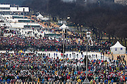 WASHINGTON, USA - January 20: The crowd begins to grow as people arrive on the National Mall for the 58th U.S. Presidential Inauguration where President-elect Donald Trump will be sworn in as the 45th President of the United States of America in Washington, USA on January 20, 2017.
