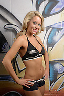 "LONDON, ENGLAND, FEBRUARY 15, 2013: UFC UK ""Octagon Girl"" Carly Baker poses for a portrait ahead of the official weigh-ins for UFC on Fuel TV 7 inside the Hilton Hotel in London, England on Friday, February 15, 2013 © Martin McNeil"