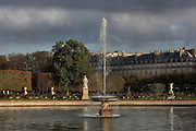 Large round basin in Jardin des Tuileries, at sunrise beneath a stormy sky, 1664, Andre le Notre, Paris, France. Picture by Manuel Cohen