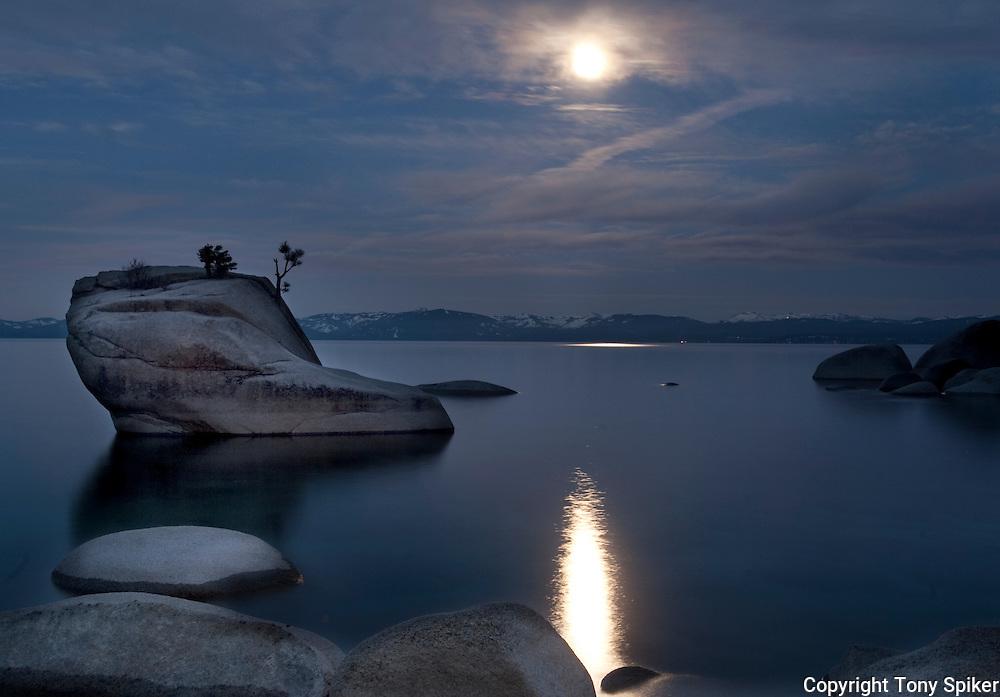 """Bonsai Rock Sunrise 5"" - The sun rises over Bonsai Rock on the Eastern shore of Lake Tahoe as the moon is setting"