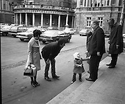 Dail Reassembles at Leinster House..1973..28.03.1973..03.28.1973..28th March 1973..After the recent general election The Dail resumed today at Leinster House,Dublin..Picture of three year old Anne Devitt greeting her grandfather Mr Denis Jones TD on the steps of Dail Eireann. Mr Jones is the former Leas Ceann Comhairle of the Dail.