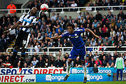 Chelsea FC Loic Remy jumps for a header during the Barclays Premier League match between Newcastle United and Chelsea at St. James's Park, Newcastle, England on 26 September 2015. Photo by Craig McAllister.