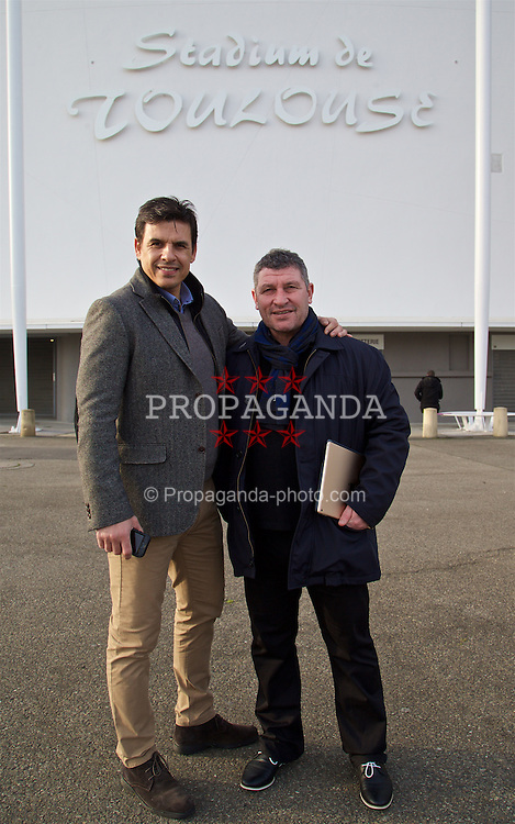 TOULOUSE, FRANCE - Tuesday, January 26, 2016: Wales' manager Chris Coleman and assistant manager Osian Roberts visit the Stadium de Toulouse on an inspection visit ahead of the UEFA Euro 2016 Tournament. (Pic by David Rawcliffe/Propaganda)