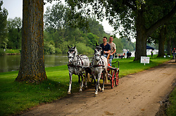 © London News Pictures. 12/05/2016. Windsor, UK. A horse pulled cart makes its way along the banks of the River Thames on he first day of the 2016 Royal Windsor Horse Show, held in the grounds of Windsor Castle in Berkshire, England. The opening day of the event was cancelled due to heavy rain and waterlogged grounds. This years event is part of HRH Queen Elizabeth II's 90th birthday celebrations.  Photo credit: Ben Cawthra/LNP