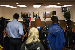 Former Governor Steve Beshear held a press conference to address allegations made by the Bevin administration on the ethical conduct during Beshear's years as governor, Wednesday, April 27, 2016 at Capital Plaza Hotel in Frankfort.
