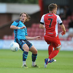 TELFORD COPYRIGHT MIKE SHERIDAN 7/8/2018 - James McQuilkin of AFC Telford battles for the ball with Declan Weeks during the National League North fixture between Kidderminster Harriers FC vs AFC Telford United.