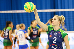 Maret Balkestein-Grothues of PGE Atom Trefl Sopot during the volleyball match between Calcit Ljubljana and PGE Atom Trefl Sopot at 2016 CEV Volleyball Champions League, Women, League Round in Pool B, 1st Leg, on October 29, 2016, in Hala Tivoli, Ljubljana, Slovenia.  (Photo by Matic Klansek Velej / Sportida)