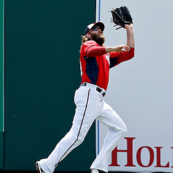 Mar 9, 2013; Melbourne, FL, USA; Washington Nationals right fielder Jayson Werth (28) catches a fly ball against the Miami Marlins during the top of the second inning of a spring training game at Space Coast Stadium. Mandatory Credit: Derick E. Hingle-USA TODAY Sports
