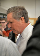 Hempstead, New York, USA. April 4, 2016. JOHN KASICH, Republican presidential candidate and governor of Ohio, leaves at the end of Town Hall he hosted at Hofstra University David Mack Student Center in Long Island. The New York primary is April 19, and Kasich is the first of the three GOP presidential candidates to campaign in Nassau and Suffolk Counties, and is in third place in number of delegates won.
