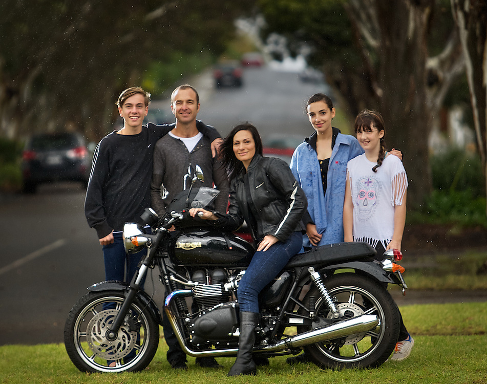 Mormon family from left, Isaac Gibbons, Graeme Gibbons, Darrylin Galanos with her Triumph, Grace Gibbons, Jemma Gibbons. Pic By Craig Sillitoe CSZ/The Sunday Age.25/04/2012  Pic By Craig Sillitoe CSZ / The Sunday Age melbourne photographers, commercial photographers, industrial photographers, corporate photographer, architectural photographers, This photograph can be used for non commercial uses with attribution. Credit: Craig Sillitoe Photography / http://www.csillitoe.com<br />