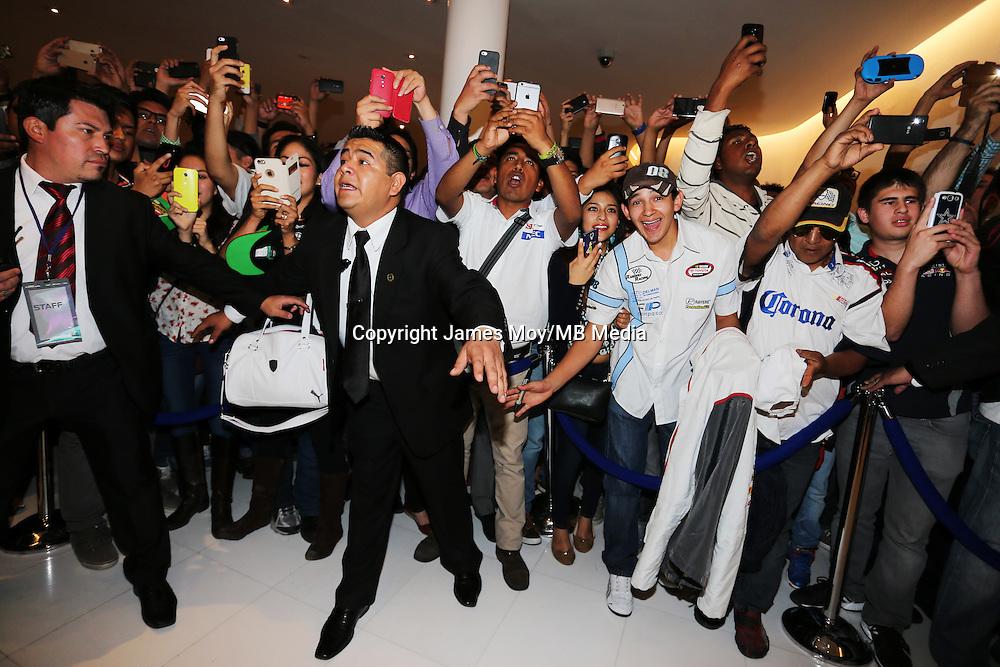 Sahara Force India F1 Team fans.<br /> Sahara Force India F1 Team Livery Reveal, Soumaya Museum, Mexico City, Mexico. Wednesday 21st January 2015.