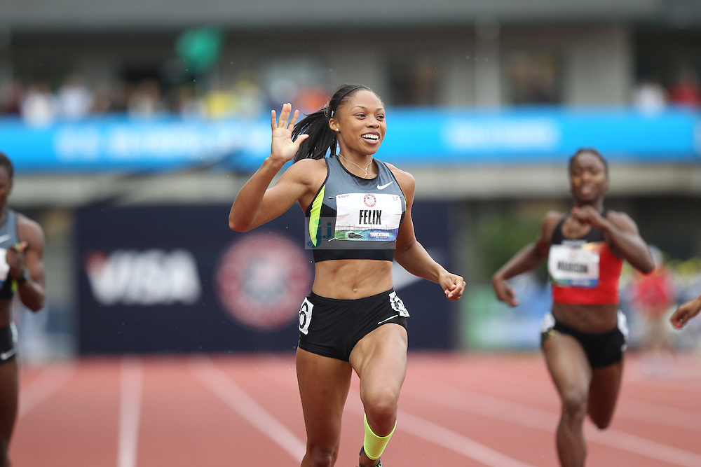 Allyson Felix celebrates after winning the finals of the 200m during day 9 of the U.S. Olympic Trials for Track & Field at Hayward Field in Eugene, Oregon, USA 30 Jun 2012..(Jed Jacobsohn/for The New York Times)....