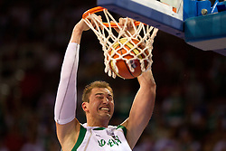 Primoz Brezec of Slovenia during the Preliminary Round - Group B basketball match between National teams of USA and Slovenia at 2010 FIBA World Championships on August 29, 2010 at Abdi Ipekci Arena in Istanbul, Turkey.  (Photo by Vid Ponikvar / Sportida)