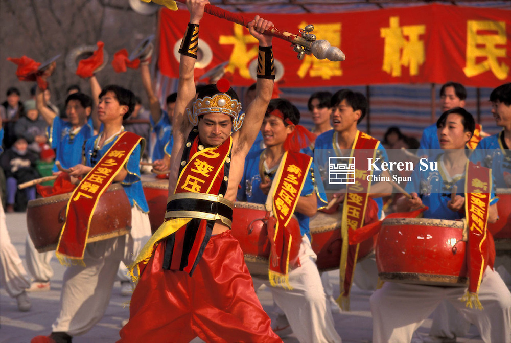 Drum performance celebrating Chinese New Year, China