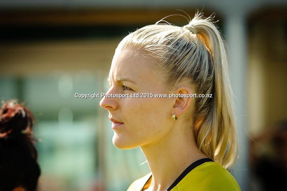 Silver Fern Katrina Grant listens to speeches the Sport NZ Strategy Launch, Lyall Bay School, Wellington, New Zealand. Friday 20 March 2015. Copyright Photo: Mark Tantrum/www.Photosport.co.nz