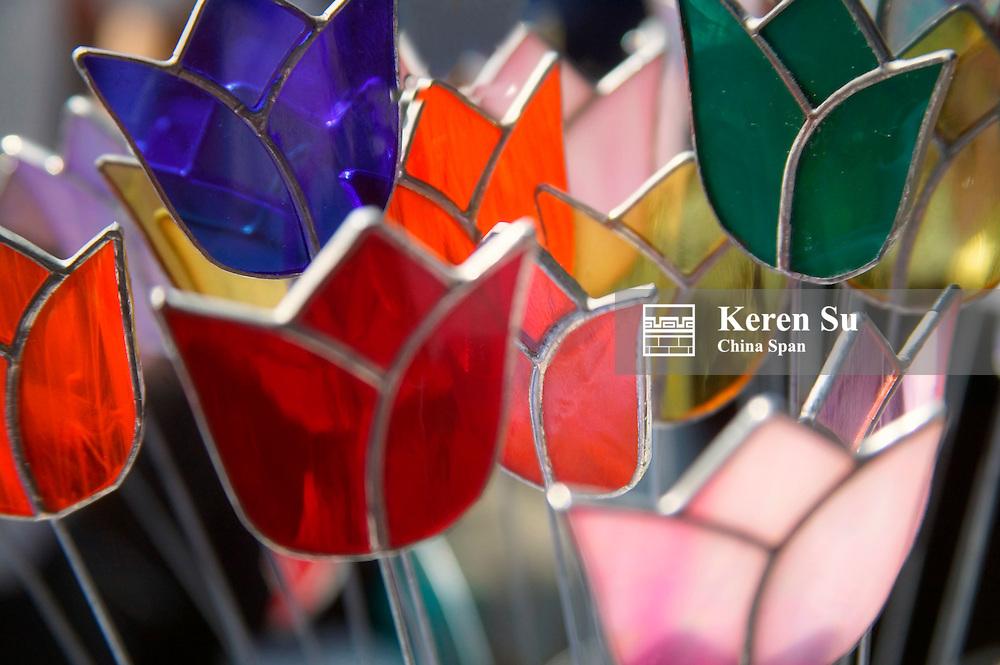 Glass made tulip decoration in Keukenhof Gardens, Amsterdam, Netherlands