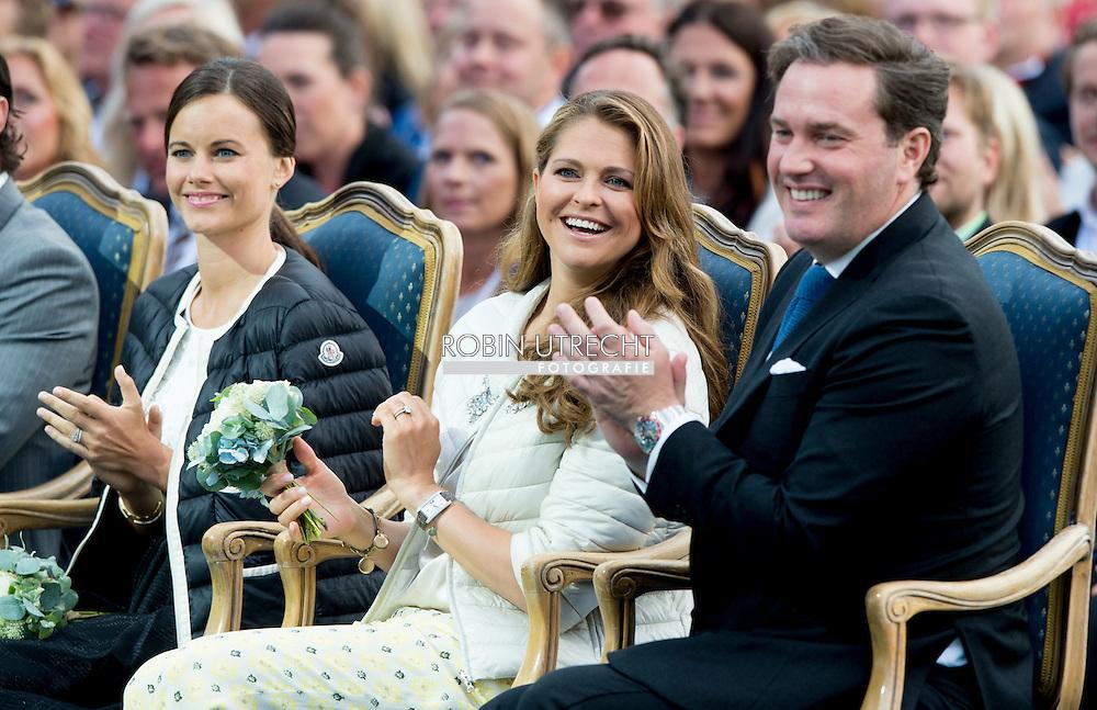 14-7-2015- Borgholm - King Carl-Gustav , queen Silvia , crown princess victoria , prince Daniel , prince Carl Philip , princess Sofia Hellqvist , princess Madeleine and Chris O'Neil at the victoriaday celebration at the stadium in Borgholm . COPYRIGHT ROBIN UTRECHT