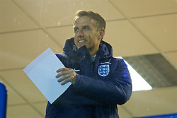 WIDNES, ENGLAND - Wednesday, February 7, 2018: New England national women's team manager Phil Neville during the FA Women's Super League 1 match between Liverpool Ladies FC and Arsenal Ladies FC at the Halton Stadium. (Pic by David Rawcliffe/Propaganda)