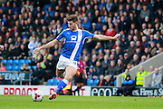 Chesterfield's Ched Evans (9) has a shot saved by Scunthorpe United goal keeper Luke Daniels (1) during the EFL Sky Bet League 1 match between Chesterfield and Scunthorpe United at the b2net stadium, Chesterfield, England on 22 October 2016. Photo by Richard Holmes.
